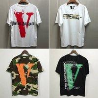gömlek için en iyi pamuk toptan satış-Yeni Vlone Kısa Kollu T-shirt En Iyi Sürüm V Arkadaşlar Tee Erkek Kadın Hip Hop Streetwear Moda Rahat Pamuk Gömlek CPI0302