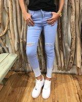 vintage taille ausbildung großhandel-2018 echte jeans mujer frühling 2019 neue frauen persönlichkeit training allmählich himmel knie loch hoch-taille wolle bottom hosen weiblich