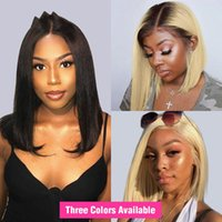 Wholesale lace front ombre short curly resale online - 13x6 Lace Front Wig for black women Straight Brazilian blonde Human Hair Wig Short Bob ombre Lace Frontal Wig