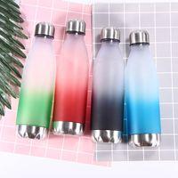 Wholesale bottles up resale online - Plastic Gradient Water Bottle Creative Gradual Color Cup Leak Prevention Cola Shape tumbler Portable Men Women feeding Mug LJJA3113