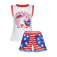 ingrosso ragazze stella superiore-Perimedes Baby Girls Summer Print Sets Sets Toddler Kids Baby Boy Cartoon Stampa Top Star Striped Shorts Abiti 4 luglio