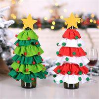 tapa de tela botella de vino al por mayor-no tejido de la botella del árbol de acebo de Navidad cubierta Vino Tela pegajosa bola de pelo de cinco estrellas Caso botella de vino de Navidad restaurante botella de decoración