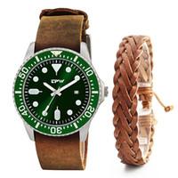 кожаный набор часов оптовых-Classic Men Custom genuine leather Watch with genuine leather bracelet gift set for men  watches set with free box