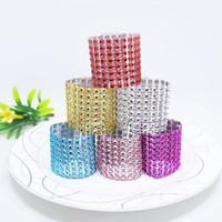 vernickelte ringe großhandel-Neue 100pcs / lot Strass Serviettenringe für Hochzeit Tischdekoration, Nickel oder Rose Vergoldung Serviettenringe