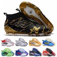 futbol futbol botları firma toprakları toptan satış-Ace 17 + Purecontrol Primeknit açık Futbol Cleats taquets Firma Zemin Cleats Eğitmenler FG NSG Erkek Futbol Çizmeler Futbol Ayakkabıları Altın siyah