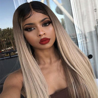 Wholesale chinese parts for sale - Group buy Brazilian Human Hair Ombre b Ash Blonde Full Lace Human Hair Wigs with Baby Hair Middle Part Pre Plucked Hairline