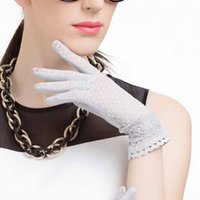 Wholesale fingerless sun protection gloves resale online - Summer Lace Sunscreen Gloves UV Protection Grey White Women Driving Slip resistant Quality Cotton Female Anti Sun Driving Gloves