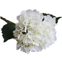 düğün çiçekleri toptan satış-Parti Malzemeleri Yapay Ortanca Çiçek Baş 47 cm Sahte Ipek Tek Gerçek Dokunmatik Ortancalar Düğün Centerpieces için 8 Renkler Ev Çiçekler