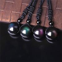 siyah boncuk gözleri toptan satış-Doğal Taş Siyah Obsidyen Gökkuşağı Göz Boncuk Topu Transferi Şanslı Aşk Kolye Kolye