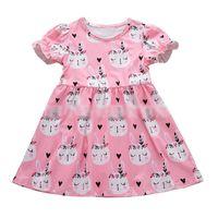 Wholesale boutique easter clothing online - Baby girls Easter rabbit print Dress children bunny princess dresses summer Fashion boutique Kids Clothing C6090