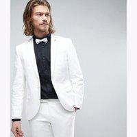 ingrosso inghilterra groom tuxedos-Abito uomo Custom Made slim fit bianco Groom mens Suit Tuxedo 2 bottoni Abiti da sposa per uomo 2018 Inghilterra (giacca + pantaloni)