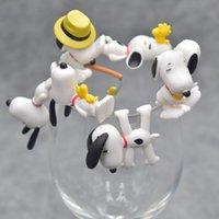 boneca de amendoim venda por atacado-7 pçs / set Amendoim Charlie Brown Cup Borda Figura Modelo Bonecas Crianças Amigo Presente de Aniversário de Casamento Presentes de Ano Novo de Natal para Convidados
