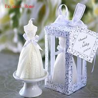 düğün davetlisi mumlar toptan satış-konuk düğün hediyelik eşya 100pcs düğün gelin elbise mum iyilik düğün hediyesi
