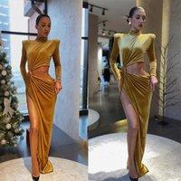 yüksek ruffle yaka toptan satış-Eşsiz Tasarım Gelinlik Modelleri Kadife Yüksek Yaka Uzun Kollu Ruffles Abiye Giyim Yüksek Bölünmüş Kesit Yüzler Pist Moda Elbise
