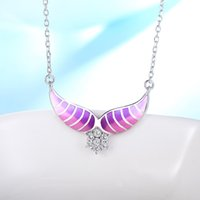 925 sterling silber engel charme großhandel-Authentische 925 Sterling Silber Engelsflügel Halsketten rosa Charme Emaille Anhänger Halskette für Frauen Modeschmuck machen