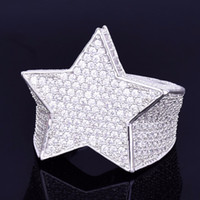 Wholesale stoned jewelry resale online - Men Fashion Copper Gold Silver Iced Out Star Ring High Quality Cz Stone Star Shape Ring Jewelry
