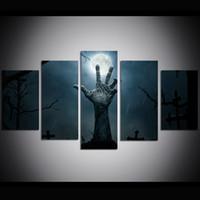 pinturas a óleo do dia das bruxas venda por atacado-5 Peça Grande Tamanho Da Arte Da Parede Da Lona de Halloween Cemitério Pintura A Óleo Da Arte Da Parede Fotos para Sala de estar Pinturas Decoração Da Parede