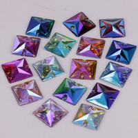 piedras de acrílico diamante al por mayor-Buena calidad de 16 mm Colores AB Resina cuadrados de costura en la parte posterior plana Piedras cose en diamantes de imitación