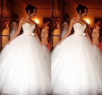 Wholesale winter wedding dresses blue ribbon resale online - Sparkly Crystal Tulle Wedding Dresses Ball Gown Cheap Sweetheart Tulle Pleated Ribbon Bows Court train Corset Back Wedding Bridal Gowns