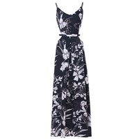 ingrosso vacanza veste donne-2019 Summer Vacation Flora Printed Dresses Spaghetti Strap Ankle Backless Sexy Dress Women Split Party Style Skirt