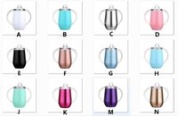 Sippy cup 10oz Kid water bottle Stainless Steel tumbler with Handle Wine Glasses Egg Cups with Handle and Lid In Stock