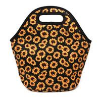 Wholesale cooler bags resale online - Neoprene Sunflower Food Bag Blanks Yellow Flower Lunch Tote Bag Picnic Cooler Bag Floral Food Carrier DOM106882