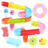 Wholesale bathroom game resale online - Baby bath toy Suction cup track water games toys summer children s play water Bathroom bath shower water toy kids Birthday Gifts Y200323