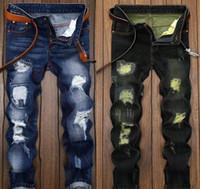 ingrosso jeans ricchi-Jeans uomo Jeans moto motociclista Taglia 28 42 rock revival skinny Sottile strappato Popolare Hip Hop buco mendicante Pantaloni denim Uomo jeans firmati 009