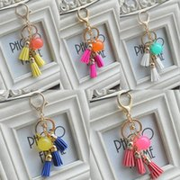 Wholesale new style car keys resale online - 2019 New Style Candy Color Acrylic Beads Tassel Pendant Keychain Key Ring For Bag Car Key Chain Phone Fashion Accessories Free DHL B801Q A