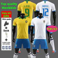 camisa de criança do brasil venda por atacado-Tailândia Brasil camisa de futebol crianças kit camisa de futebol copa américa 2019 brasil camiseta de COUTINHO VINICIUS camisa de futebol camisa