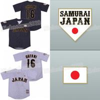camisetas japonesas al por mayor-Shohei Ohtani 16 Japón Samurai Negro raya diplomática japonesa Baseball Jersey Blanco Negro doble cosió alta calidad en la acción