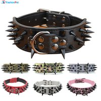 Wholesale pitbull leather spiked dog collars online - High Quality quot Width Pu Leather Big Dog Collar with Black Sharp Spikes Studded for Large Dog Pet Pitbull Mastiff
