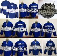 b869ab5dc42 2019 Toronto Maple Leafs 100 Anniversary Patch Centennial Classic Hockey  Jersey 44 Rielly 16 Mitch Marner 31 Frederik Andersen Jerseys