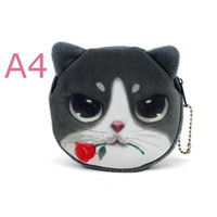 Wholesale dog cell phone cases online – custom 20 Styles New d Printing Cat dog Face Zipper Case Children Coin Purse Lady Cute Wallet Pouch Women Girl Makeup Buggy Bag