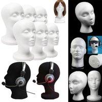 köpük şapkalar toptan satış-Erkek Manken Strafor Köpük Mankeni Kafa Modeli Peruk Gözlük Şapka Ekran Standı