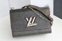 mezclilla de yoga al por mayor-Marca M50281 Twist Denim New Bolsos de hombro Bolsos Mujeres Moda Lockme Purse Crossbody Bag Leather Tote Bag
