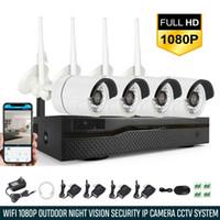 kamera sistemi kitleri toptan satış-Xtech 4CH Kablosuz 1080 P NVR Açık kapalı WIFI Kamera CCTV Güvenlik Sistemi Seti