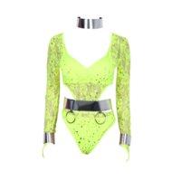 traje de dançarino de jazz venda por atacado-Moda Mulheres Traje Do Estágio Bodysuit Bodysuit Pole Dance Macacão Jazz Rave Roupas Roupas de Desempenho Gogo Dancer Outfit DC1031