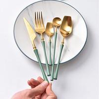 Wholesale high tea china sets resale online - high quality Gold Cutlery Flatware Set Spoon Fork Knife Tea Spoon Stainless Steel Dinnerware Set Luxury Cutlery Tableware Set wn678 set