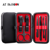 Wholesale manicure tool sets resale online - New Arrival Manicure Set Professional Black Stainless Steel Nail Clipper Kit Finger Plier Nails Art Pedicure Toe Nail Tools Set
