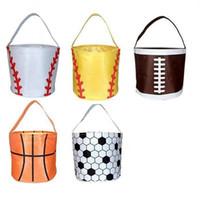 Wholesale baseball buckets for sale - Group buy Easter Basket Sport Canvas Football Basketball baseball Soccer Softball Bucket Storage bag kids Candy Basket handbag AAA1879