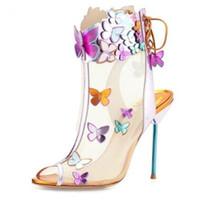 süs sandalları toptan satış-Ücretsiz kargo 2019 Ayak Bileği kayışı Bayanlar rugan 9 CM yüksek topuk 3D kelebek süsler Sophia Webster burnu açık SANDALS AYAKKABı siyah 34-42