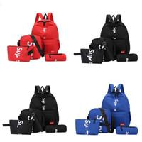 roter schwarzer jogginganzug großhandel-Sup marke rucksack rot blau schwarz freizeit wild joker mode tasche vier stück anzug praktische handtaschen 19 5mqd1