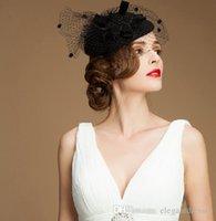 sombreros de iglesia naranja al por mayor-Manera de la boda sombreros nupciales Nuevo Color Negro Estilo de plumas de tul de noche Headwears / partido en Accesorios de Moda