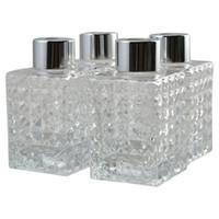 cam şişe gümüş kapaklar toptan satış-4 Set Kare Cam Difüzör Şişeleri ile Gümüş Kapaklar, 9 cm Yüksek 100 ml Parfüm Aksesuarları için Diy Yedek Reed Difüzör