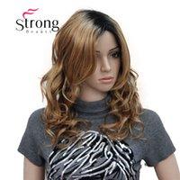 perucas castanhas onduladas do comprimento médio venda por atacado-Comprimento Médio Preto Marrom Ombre Natural Fofo Ondulado Peruca de Cabelo Sintético Completo para As Mulheres