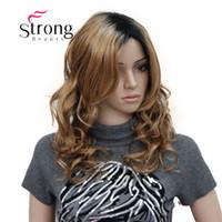 парики коричневые волнистые средней длины оптовых-Средней длины черный коричневый Ombre натуральный пушистый волнистый полный синтетический парик для волос для женщин