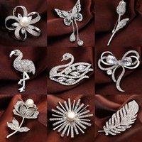 seda tibet al por mayor-Versión coreana de ambiente de lujo micro-set circón perla broche broche de alta calidad simple moda pin mujer vestido seda toalla hebilla