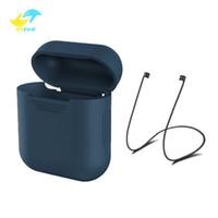 iphone silikon protektor großhandel-Für Apple Airpods Silikon Hülle Schutzhülle Tasche mit Anti verloren Seil für Air Pods Bluetooth Kopfhörer Ohrhörer Fall