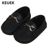 Wholesale dresses shoes toddler resale online - New Spring Autumn Flats Children Leather Shoes Boys Black Dress Shoes Baby Toddler Loafers Kids Student B